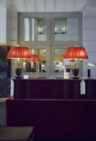 classic lamps by reception in France hotel Stock Photo - 14902036
