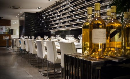 shop interior: interior of modern wine restaurant