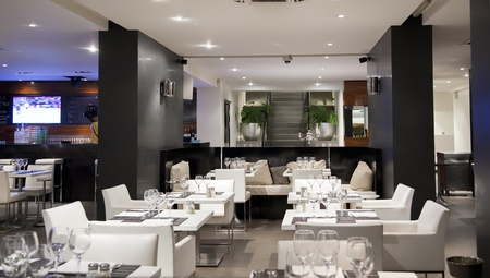 bar interior: modern interior in wine restaurant and bar