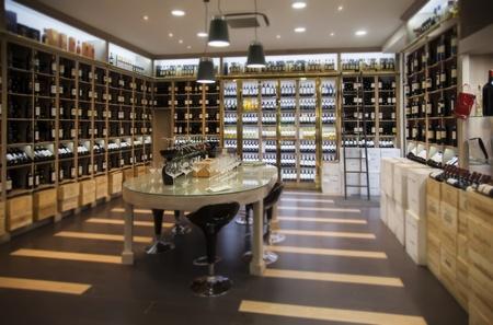 wine trade: interior of modern wine shop