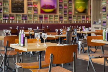 detail of interior in f wine restaurant photo