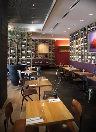 bar chair: detail of interior in wine restaurant