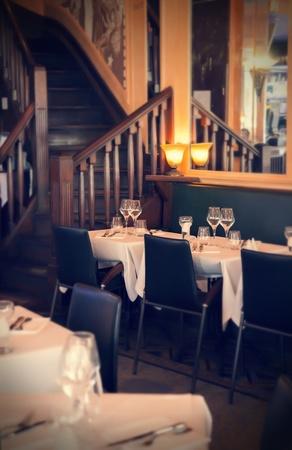 evening interior in France restaurant photo
