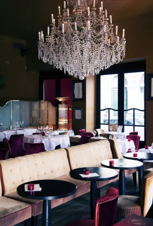 evening restaurant with bid candelabra photo