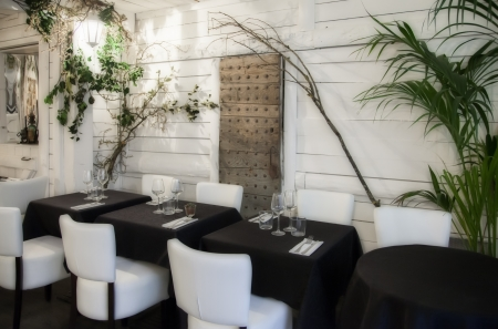 detail of white interior of France restaurant photo