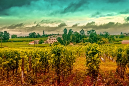 panorama of France landscape after rain  Stock Photo