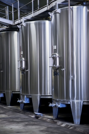 stainless: winery distillation space in modern wine factory Stock Photo