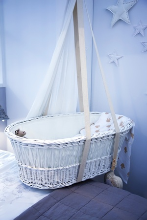 babyroom: interior of bed room with child basket
