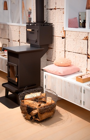 detail of home interior with stylish retro oven  photo