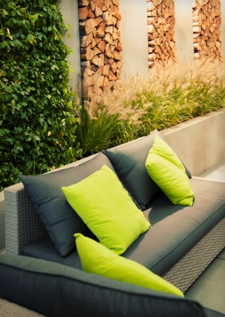 detail of garden place with sofa Stock Photo - 15688973
