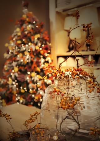Weihnachtsbaum und Heimtextilien Standard-Bild