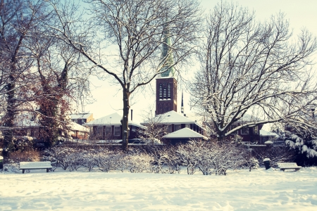 church silhouettes in winter dutch village photo