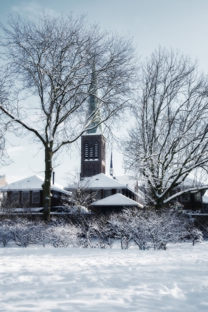 church silhouettes in winter dutch village photo
