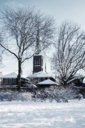 church silhouettes in winter dutch village Stock Photo - 16267994