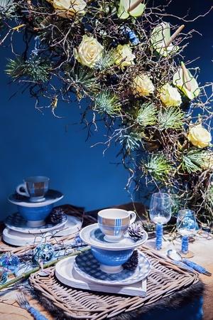 winter party: disposizione decorativa sul tavolo inverno festa