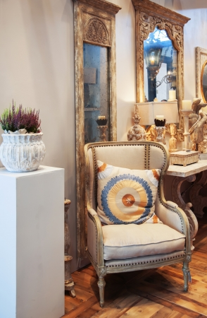 detail of  classic interior with chair