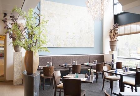 Treffpunkt im Restaurant Standard-Bild