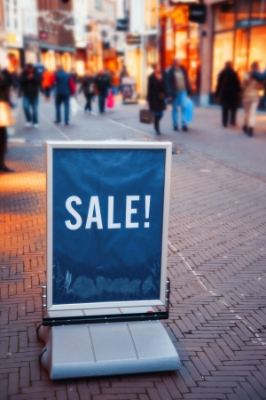 holiday display: people on dutch street during winter sale Stock Photo