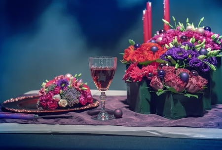 Decorative arrangement on winter party table photo