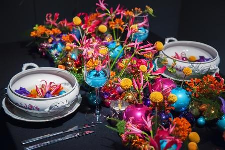 Decorative arrangement on winter party table photo