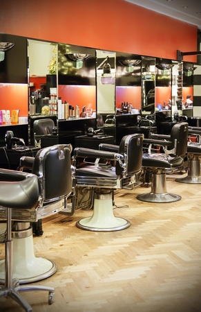 shop interior: empty modern interior of hairdresser Stock Photo