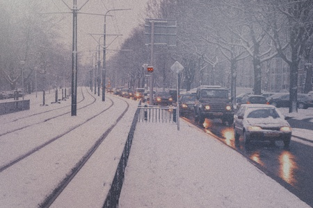 slippery: snow day and dutch city traffic