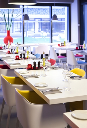 modern lamp: coloful  details in restaurant interior Stock Photo