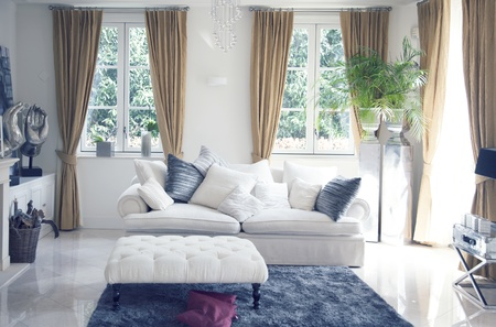 living room window: big sofa in classic interior