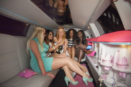 wedding party: girls bride  party in limo