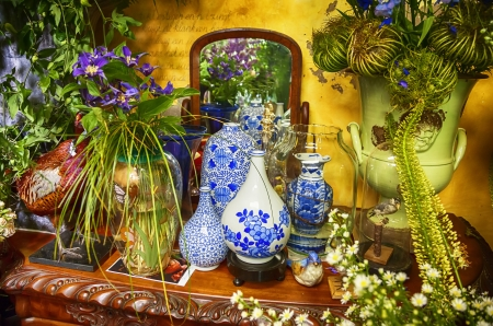 detail of shop with decorative dutch flowers photo