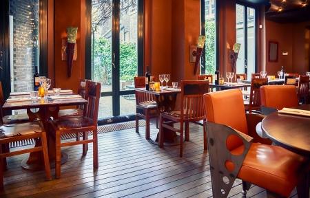 bar interior: empty evening restaurant interior  Stock Photo