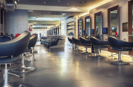 brown hair: interior of modern hair salon  Stock Photo