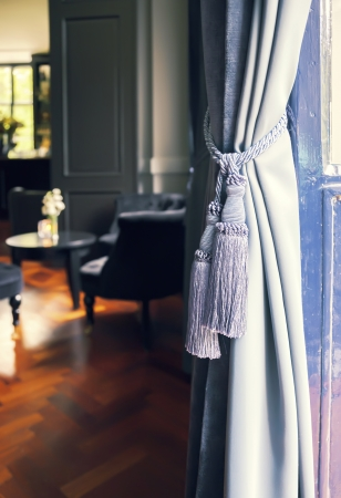 Curtains decoration  in classic interior Reklamní fotografie - 22010553