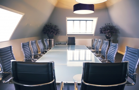 boardroom: empty business table in luxury office