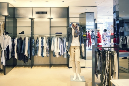 interior of woman dress shop