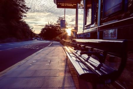 stop light: evening at bus stop