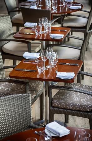 glasses on table in modern restaurant