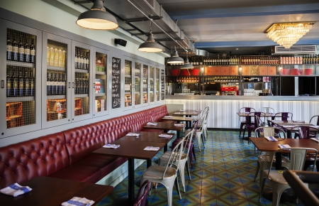 brasserie: interior of stylish Italian restaurant