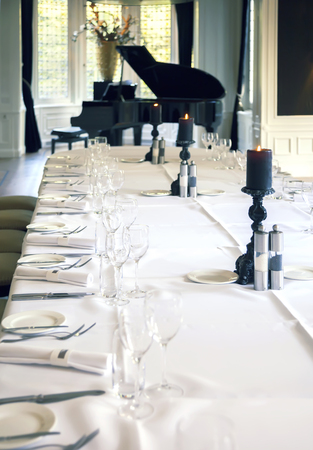 grand piano: luxury cafe with grand piano Stock Photo