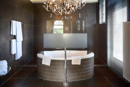 interior of luxury bathroom in hotel