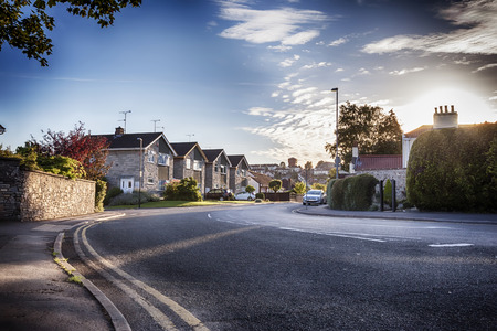 country side: evening by typical England village  Stock Photo