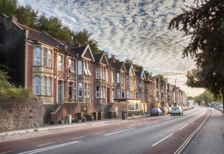 Reihe von typischen England Gebäude am Abend Lizenzfreie Bilder