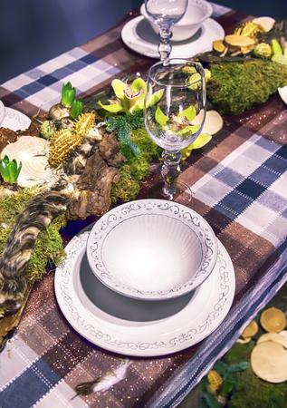 winter party: Disposizione decorativi sul tavolo inverno parte