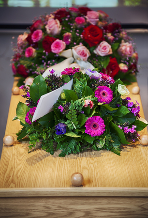 flower arrangement  for funeral Stock Photo