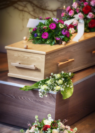 coffins: flower arrangement  for funeral Stock Photo