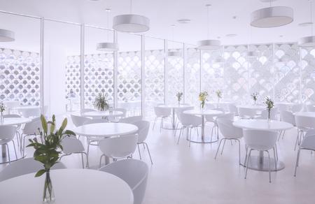 interior of white summer restaurant Stockfoto