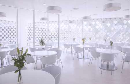 interior of white summer restaurant Stock Photo