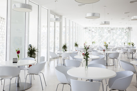 restaurant setting: interior of white summer restaurant Stock Photo