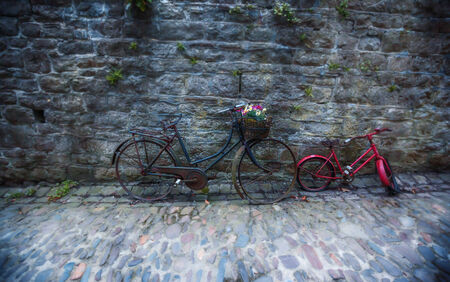 background of antique bikes with flowers photo