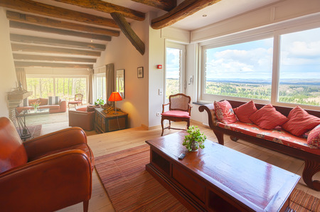 interior of living room in countryside villa  Stock Photo - 28552155